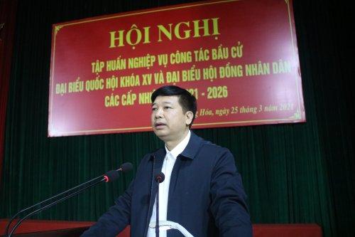 2. Đc Lê Xuân Thu - Bí thư Huyện ủy phát biểu tại hội nghị.JPG