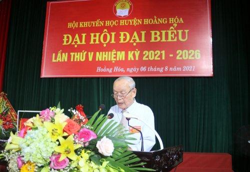 Ảnh 2. Đồng chí Lê Đức Ky- Chủ tịch Hội khuyến học huyện, khóa IV, nhiệm kỳ 2016 - 2021 phát biểu khai mạc đại hội.JPG